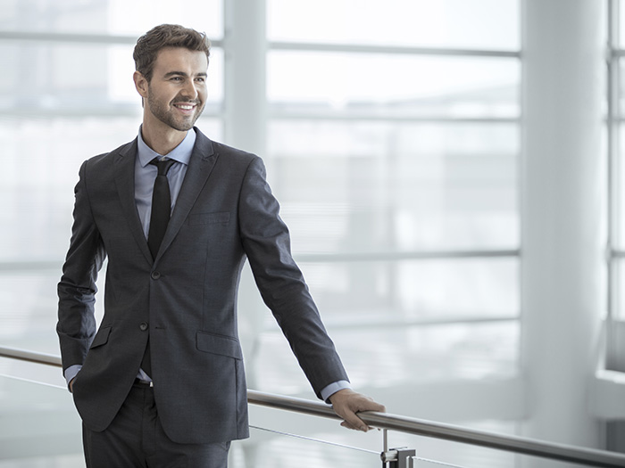 confident businessman busy in office